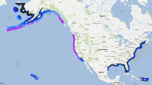 Map of North American, showing wave energy along U.S. coastline