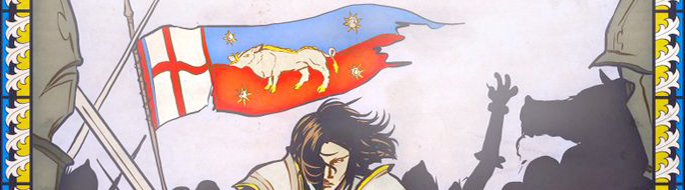 closeup of graphic depiction of Richard III in battle