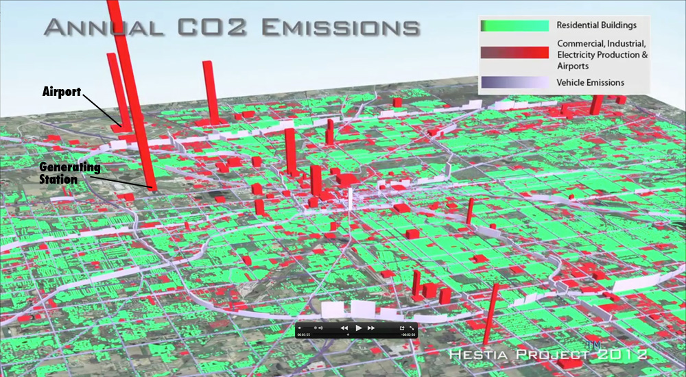 Angled view of map, showing three dimensional modeling of carbon dioxide emissions, the taller the feature, the more it emits.