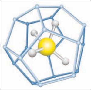 Methane molecule diagram centered in pentagonal water molecule cage.