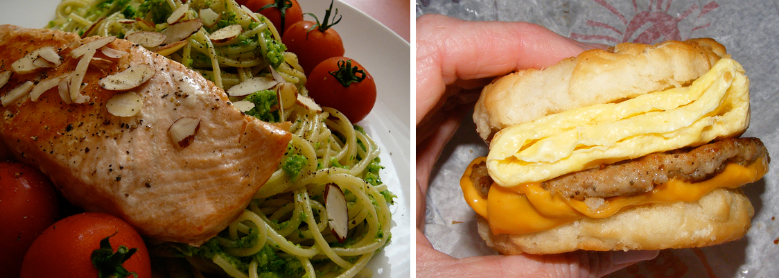 Left: Fillet of salmon sprinkled with sliced almonds resting on spaghetti surrounded by small red tomatoes; right: Hand holds sandwich with English muffin bread, sausage, cheese, and three layers of egg.