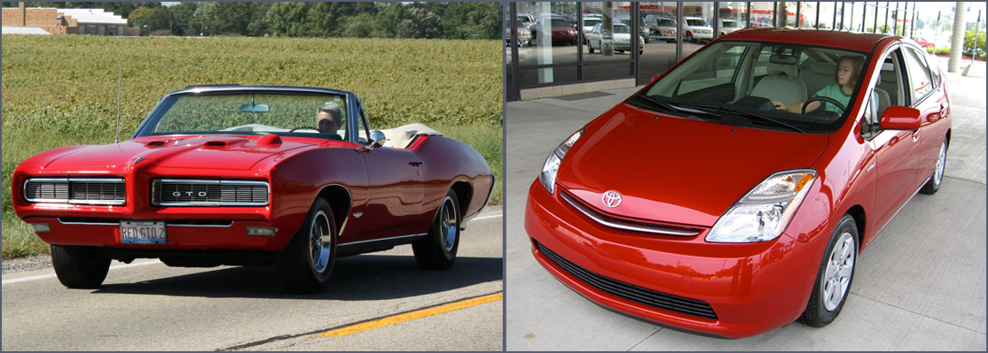 GTO (left): Red, classic-bodied GTO convertible on highways with field in background. Prius (right): Small, curving body of red Prius parked outside dealership building