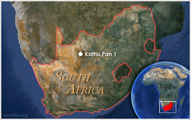 Outline of South Africa with dot marking Kathu Pan 1 in northwestern part of country.