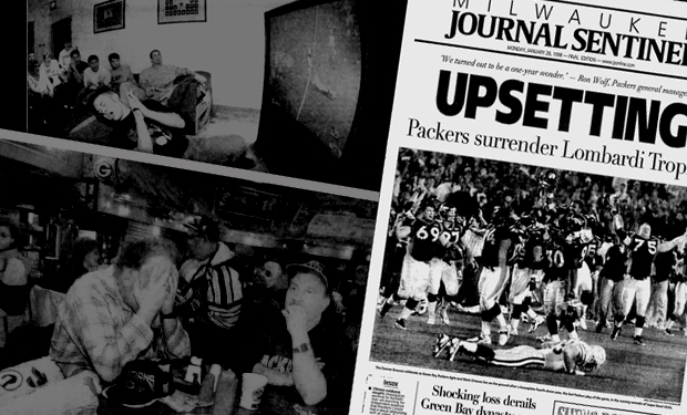 Two photographs of distraught fans overlaid by front page with headline describing upsetting loss