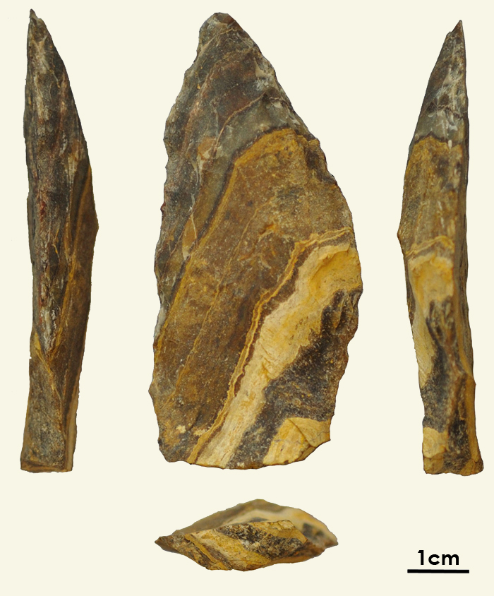 Side, front, and top view of a rock shaped into a point