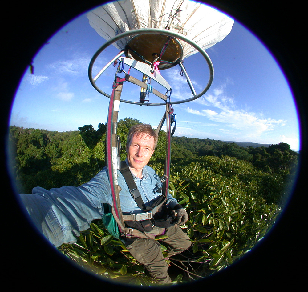 Fish-eye lens view of man strapped into swing that is dangling from hot air balloon suspended above treetops
