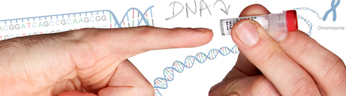 finger points to vial with dna within