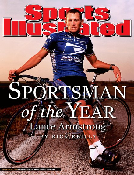 Cover of Sports Illustrated magazine shows Lance Armstrong outdoors, arms casually draped across a bike
