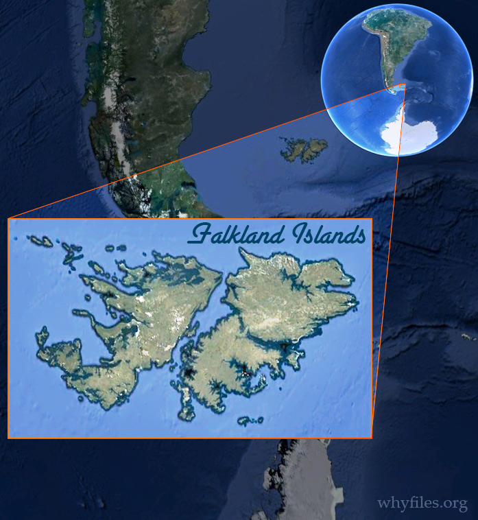 Map of Falkland Islands--superimposed and called out from image of earth.