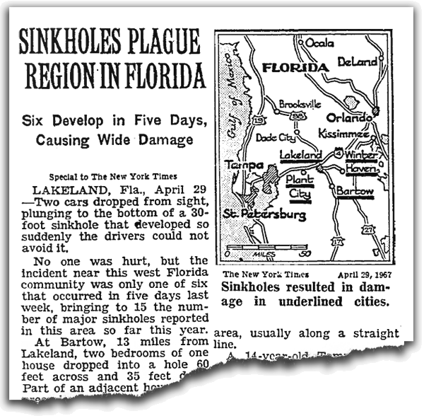 1967 newspaper headline with map of Florida showing sinkhole locations.