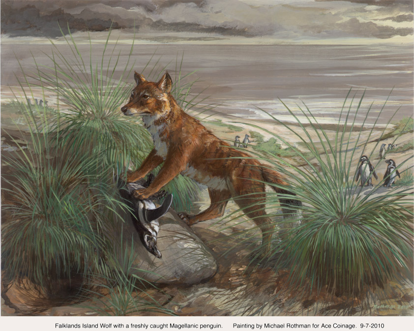 Artistic rendering of wolf with penguin between paws
