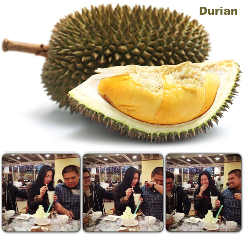 Spiky green whole fruit with sliced version resting in front, showing a soft yellow inside with a row of images showing below the fruit, showing three people sitting in restaurant, faces animated with surprise, tasting a milkshake.