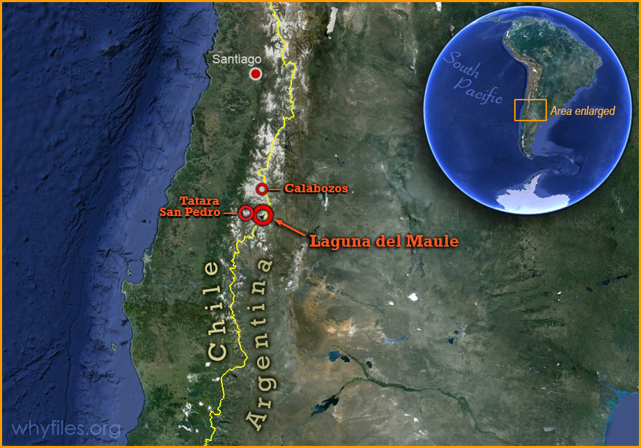 map of Satellite image of Chile with a zoomed portion show site of Laguna del Maule.
