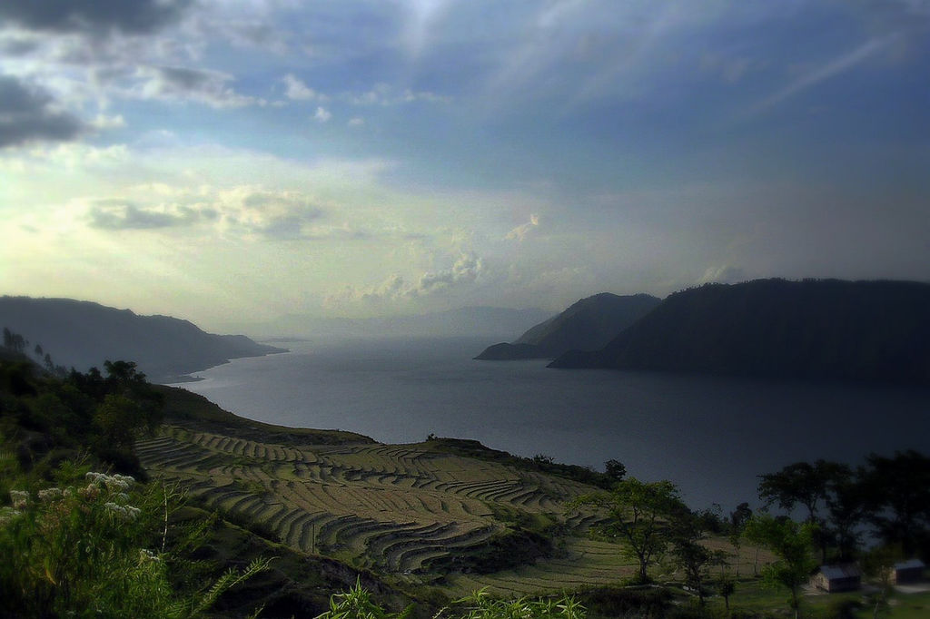 Terraced fields drop down to a lake surrounded by mountains.