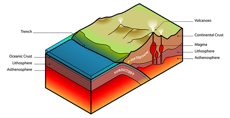cross-section of earth showing ocean tectonic plate sliding beneath continental plate, with eruptions further inland.