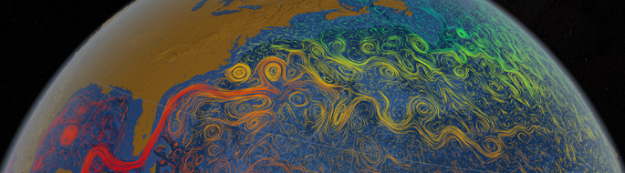 satellite view of world shows multi-colored swirls of ocean currents, color indicates temperature