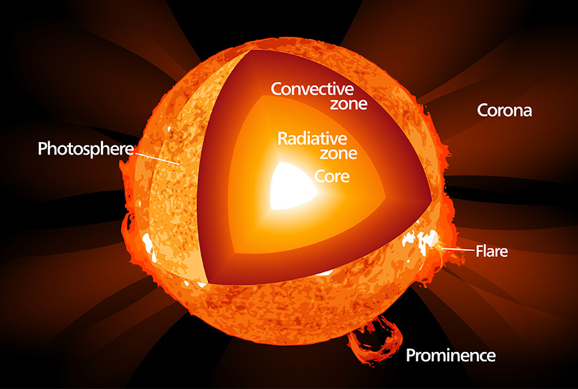 Diagram shows solar prominence: A filament of gas shaped by magnetic fields; solar flare: Sudden release of mass of ions and atoms; photosphere: visible surface of sun; Core: generates energy by fusion; Radiation zone: energy leaves by radiative diffusion; Convection zone: energy leaves by convection