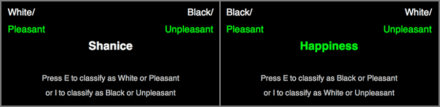 Left: Black screen with Shanice in the middle, White/Pleasant in the top left-hand corner and Black/Unpleasant in the top right-hand corner. Right: Black screen with Happiness in the middle, Black/Pleasant in the top left-hand corner and Black/Unpleasant in the top right-hand corner.
