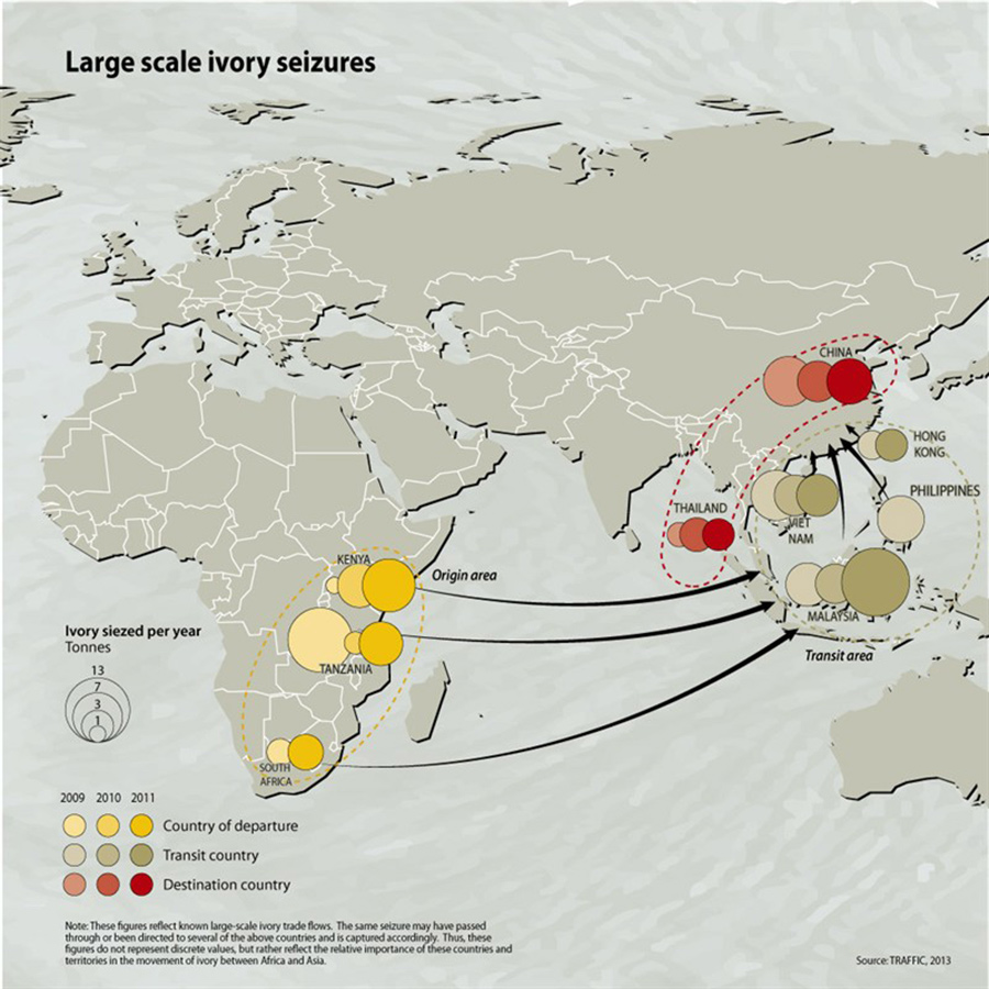 Map shows large-scale ivory trade from West and South Africa to China and Southeast Asia.