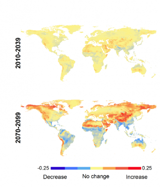 Maps show increases in fire intensity, especially in North America, Central Asia, Middle East and North Africa.