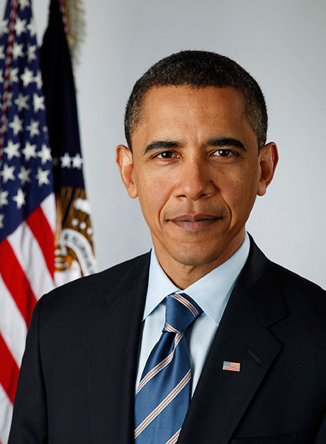 Official portrait of Barack Obama with flag in the background