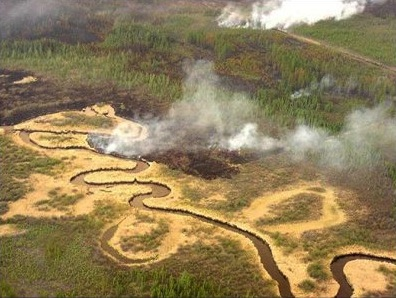 Smoke rising from black peatland with meandering stream and grassland