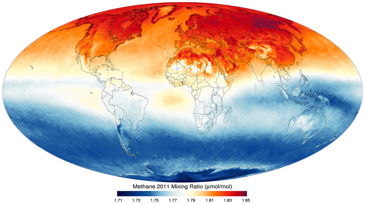 Map shows that high methane levels in the northern hemisphere, especially in the far north.