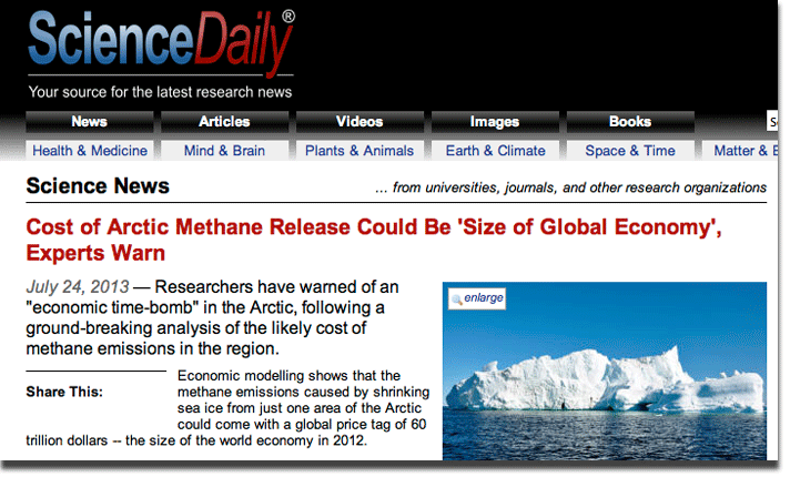 "Headline: ""Cost of methane release could be size of global economy, experts warn"""