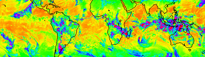 brightly colored infrared weather map of world