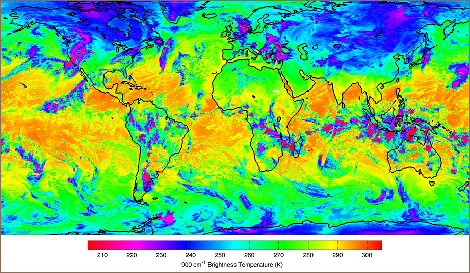 Global map show that continents and oceans are marked in a range of color from magenta, blue, green, yellow to orange.