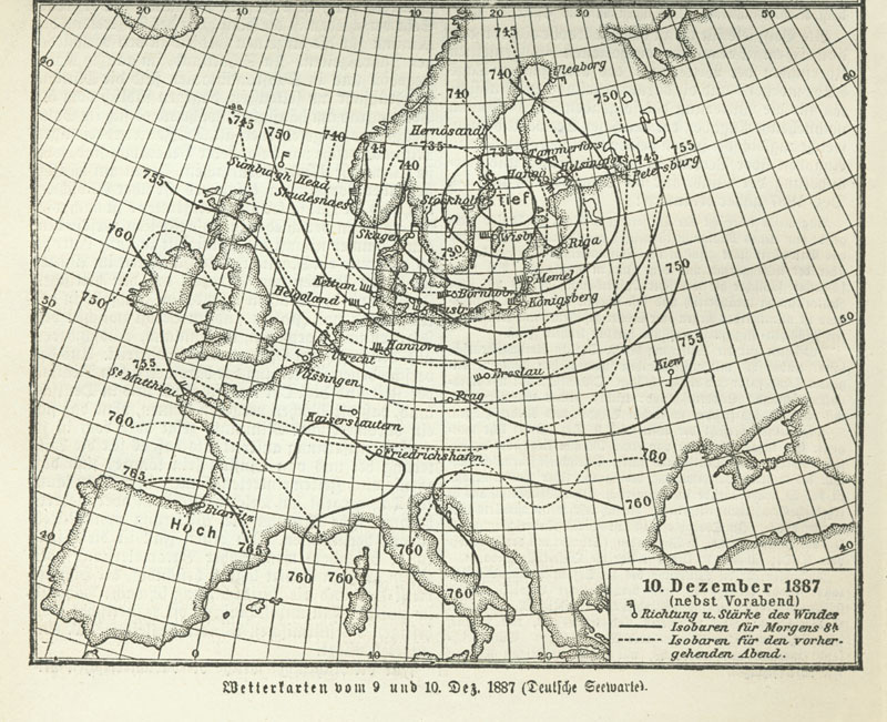 a yellowed weather map of Europe with black isobars