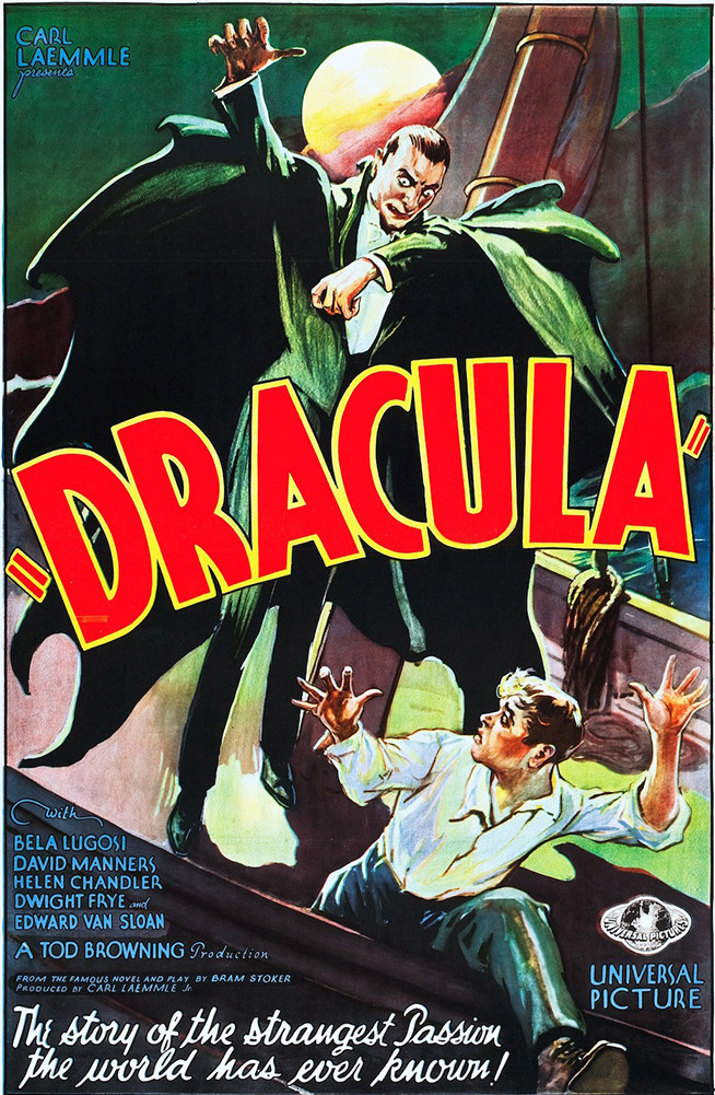 A poster of the movie, showing the vampire is after a running boy on a sailing ship, with a full moon in the background.