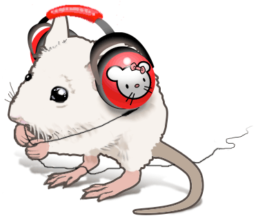illustration of young mouse with red headphones on. Cartoon mouse with bow decorate headphones