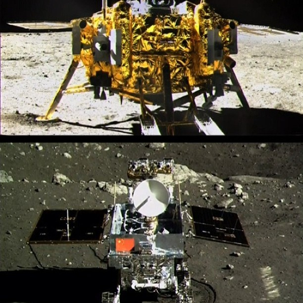 Looking like hulking, metallic bugs, the 2 spacecraft face each other on the moon