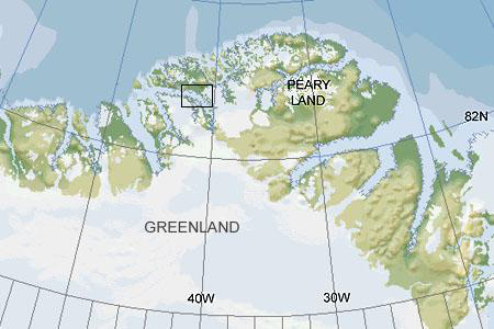 map showing the location of the fossil, which is in the northern tip of Greenland.
