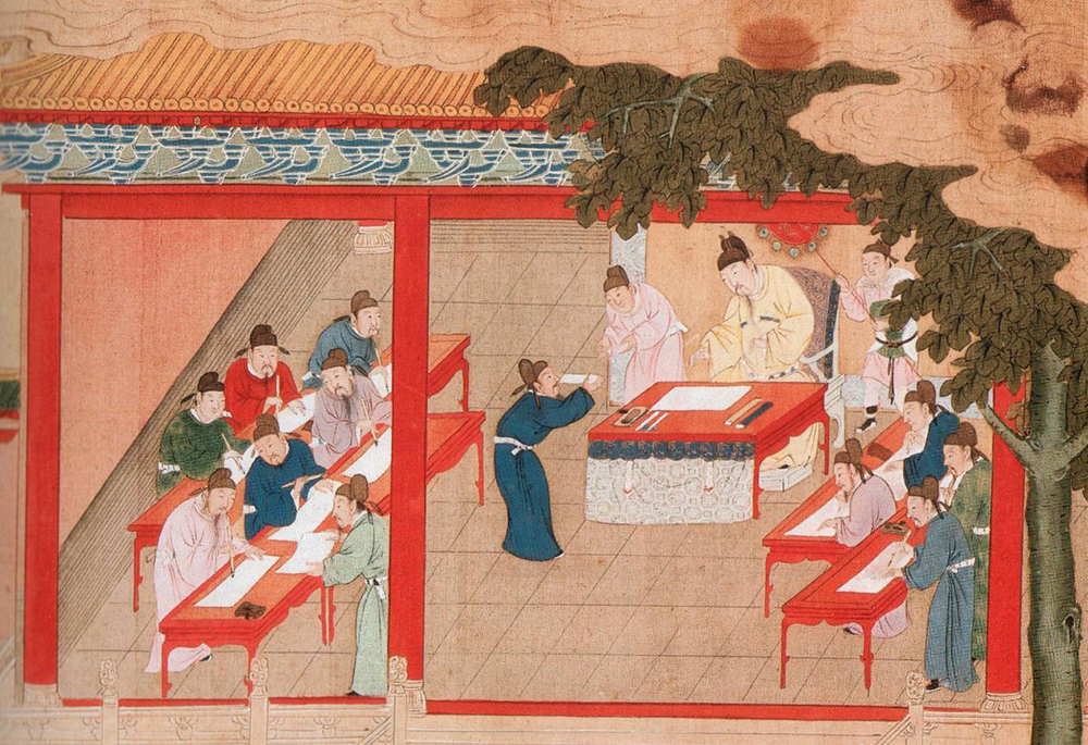 Painting shows candidates dressed in Chinese ancient garment writing with Chinese writing brushes
