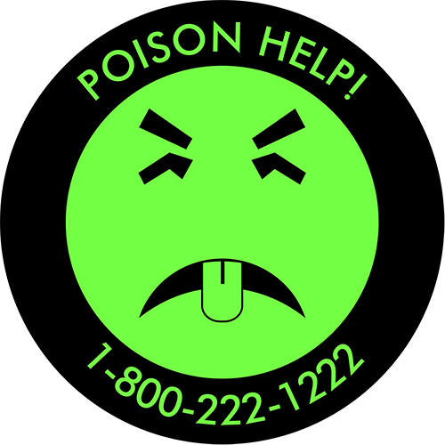 green and black symbol of 'Mr. Yuk' (frowny face with tongue sticking out) + text: 'POISON HELP!' and '1-800-222-1222'