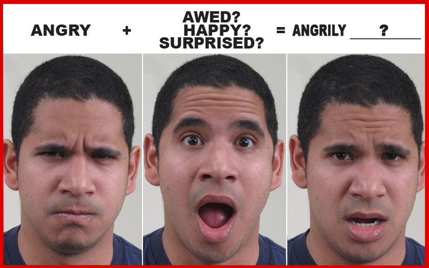 different emotions shown on young man's face and viewer is asked to identify the different emotions (l to r) 'angry, surprised, and angrily surprised'
