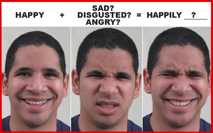 different emotions shown on man's face and viewer is asked to identify the different emotions (l to r) 'happy, disgusted, and happily disgusted'