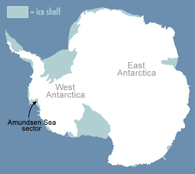 Map showing the location of Amundsen Sea sector, which is on the edge of West Antarctica