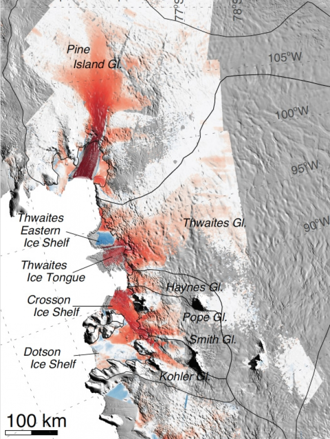 map shows that locations of several ice shelves.
