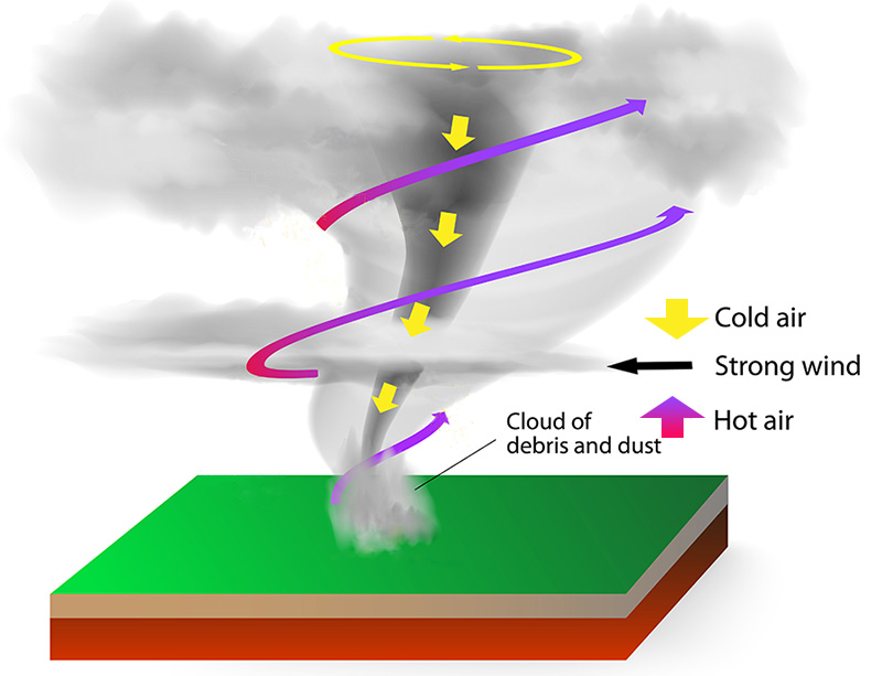 Tornado diagram shows swirling hot air rising around the tornado, and cold air coming down from above, through the center of the tornado creating a circular funnel of air