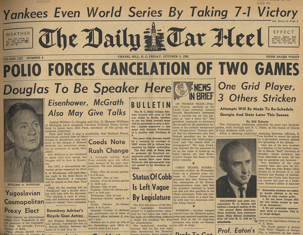 "Photo of an old newspaper headline: ""Polio forces cancellation of two games"""