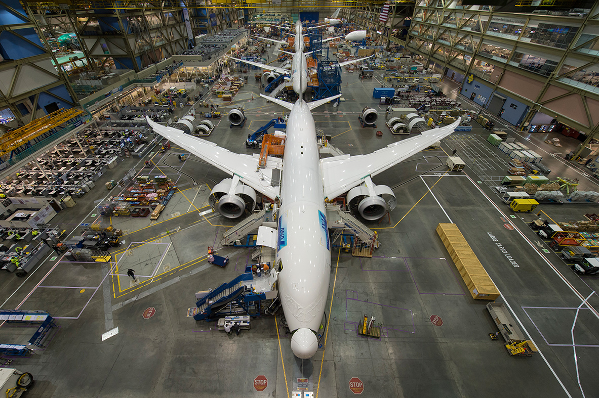Assembly line of Boeing 787 jumbo jets in the final stage of production