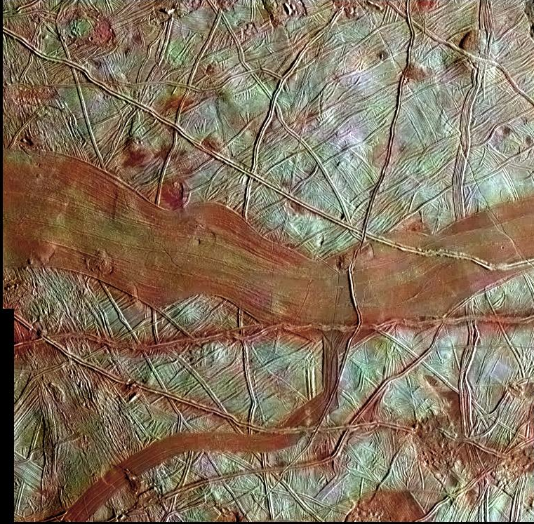 False-color image of Europa's surface showing a series of cracks and striations caused by ice movement, with a wide band of red across center.