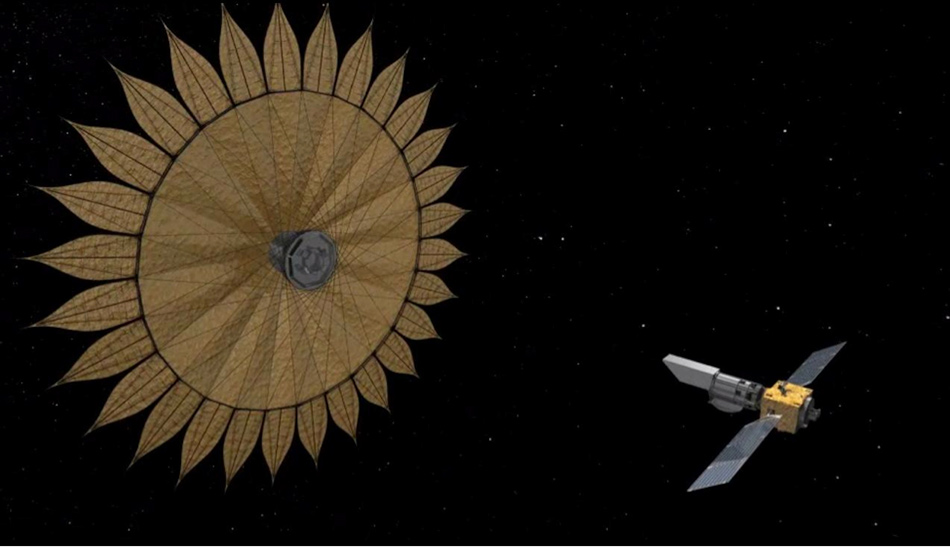 Illustration of telescope with much larger attached starshade with gilded reflectors.