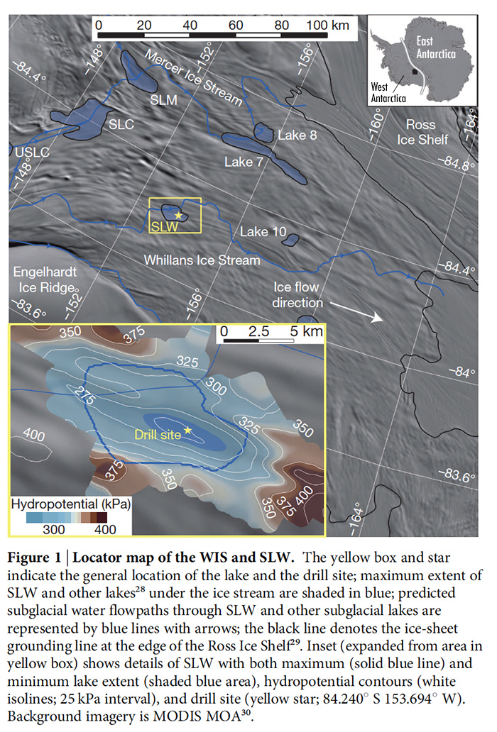 Map of Antarctica showing the location of sub-glacial lake and drilling site and indicates direction of subsurface water flow.