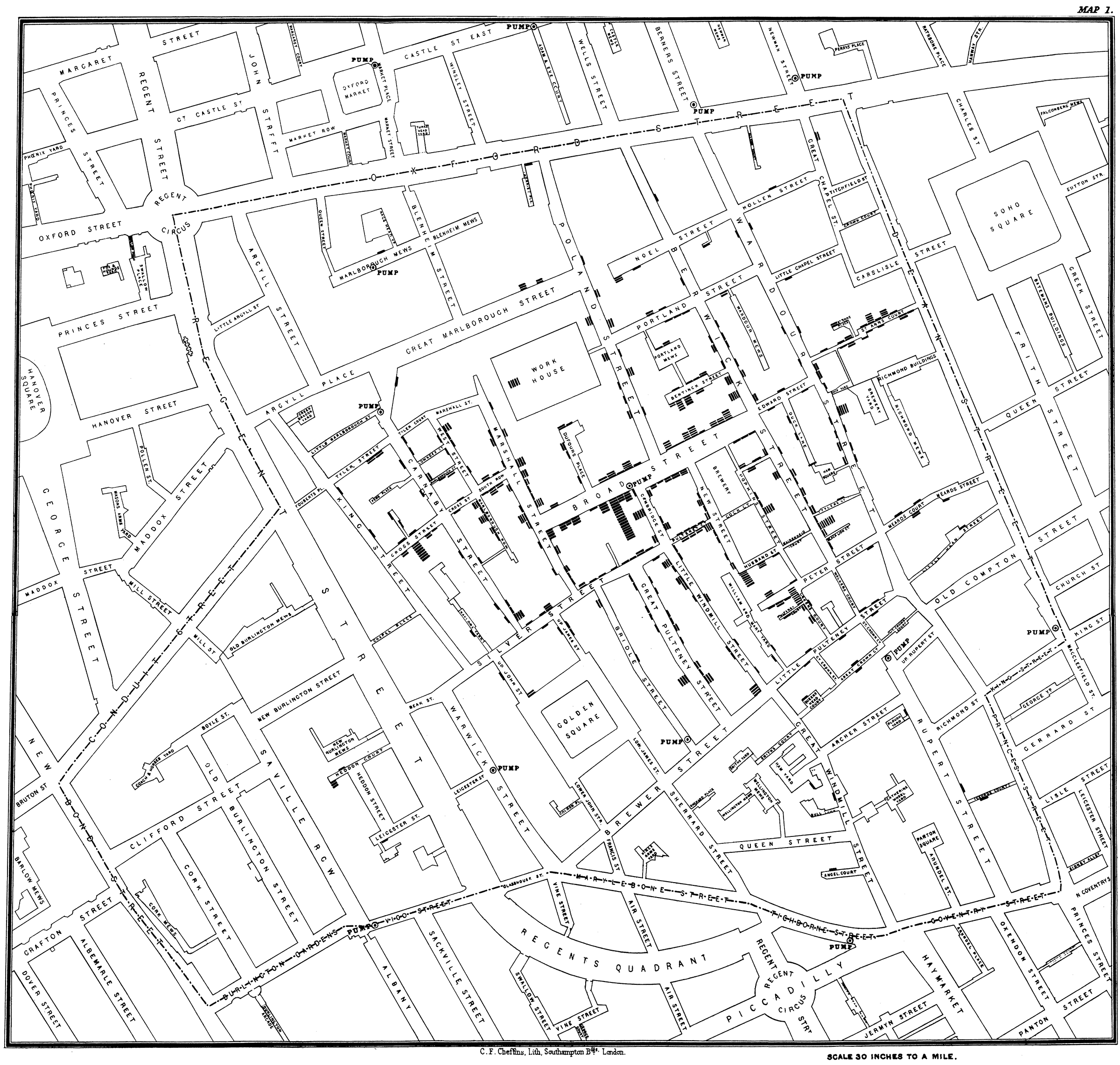 Black-and-white map of London streets with small black bars stacked perpendicular to the roads indicating locations of cholera cases