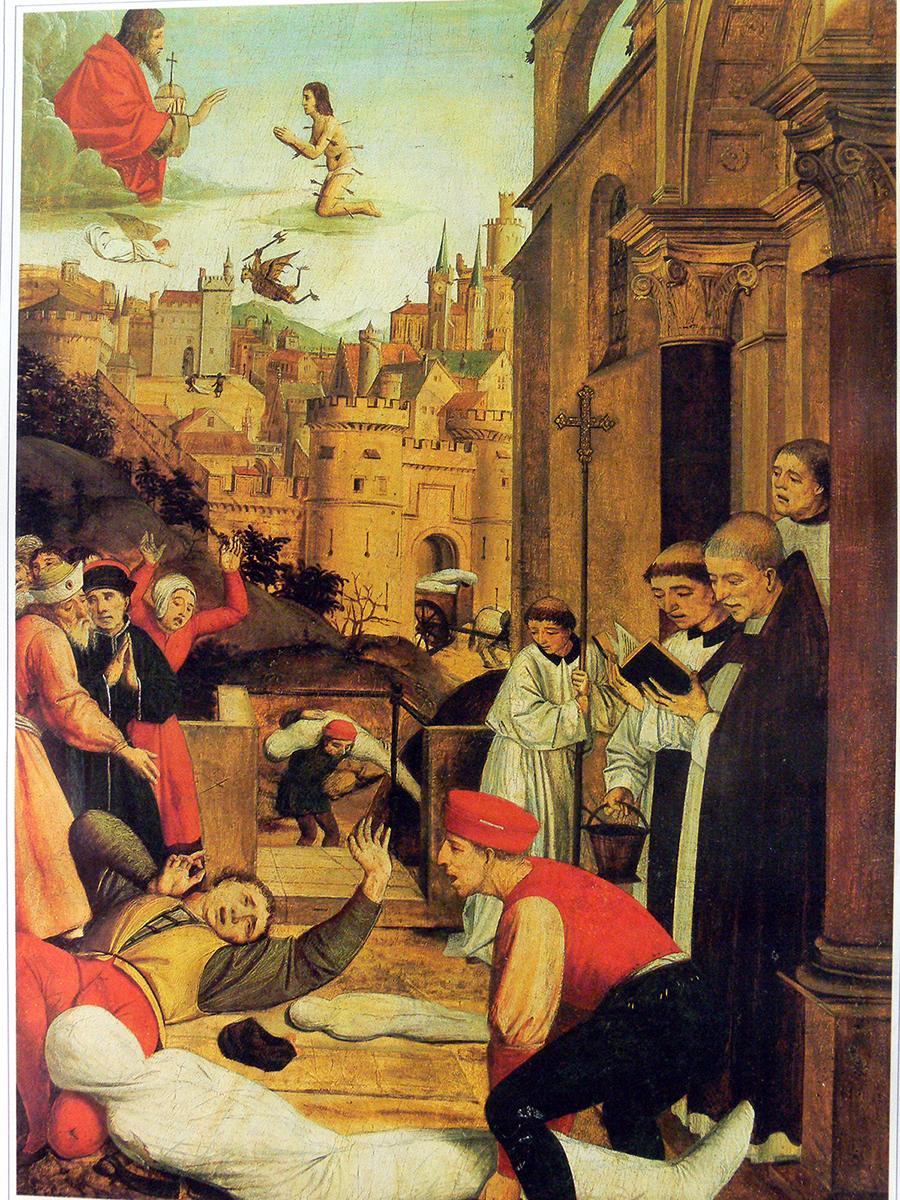 15th century painting of a street scene with despaired citizens wailing over corpses wrapped in white fabric; a priest reads from the bible nearby.