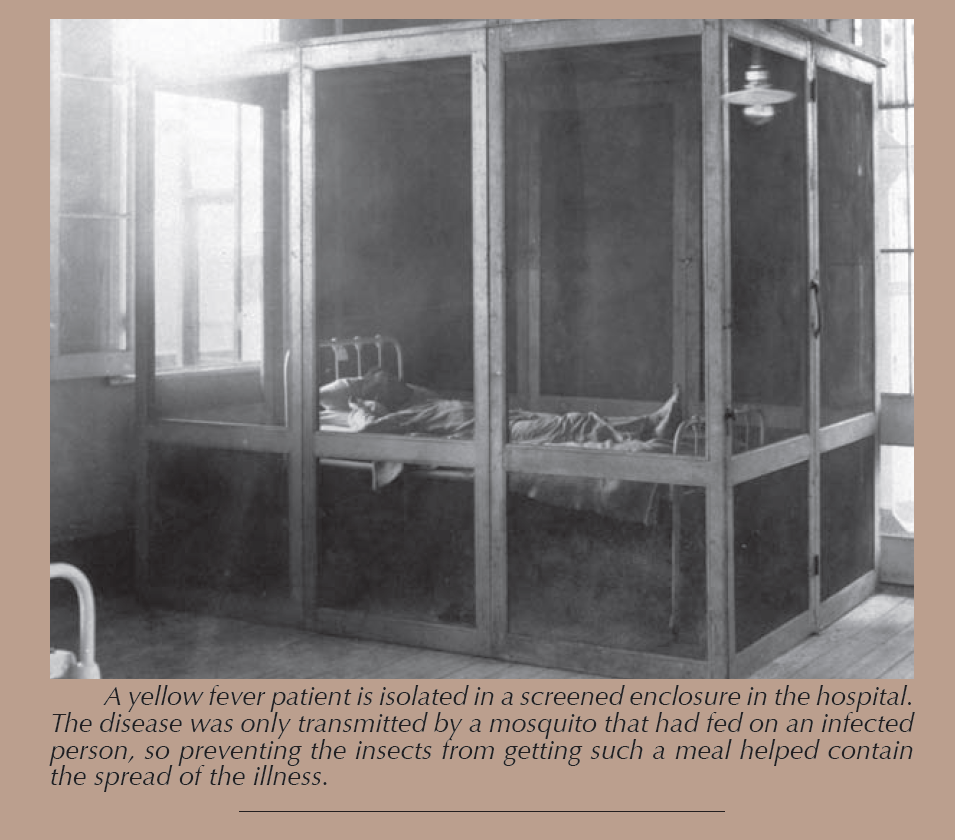 Photo of a sickly man propped up on his bed in a glass room meant for his quarantine.
